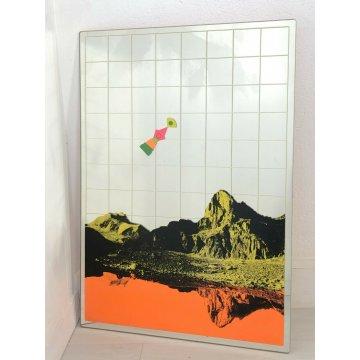 Miroir Design Renato Volpini Sérigraphié Montagnes Ans 60 Vintage Mode RAR