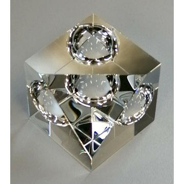 STEUBEN vintage PAPERWEIGHT GLASS Floating Spheres CUBO PRISMA SCULTURA DESIGN