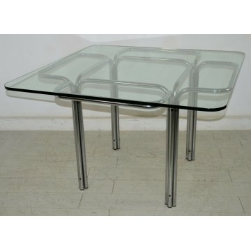 TAVOLO DESIGN Guido Faleschini VETRO ACCIAIO anni 70 VINTAGE GLASS DINING TABLE