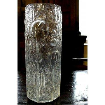GRANDE VASO SCULTURA VETRO STAMPATO TEXURE GHIACCIO TEXTURED FROSTED GLASS