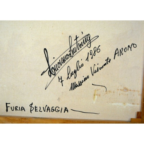QUADRO OLIO TELA Luciano Lutring VEDUTA PAESAGGIO CAVALLO FURIA SELVAGGIA ARONA