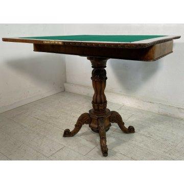 ANTICO TAVOLO DA GIOCO LEGNO MASSELLO NOCE 1800 GAME TABLE TAVOLINO VITTORIANO