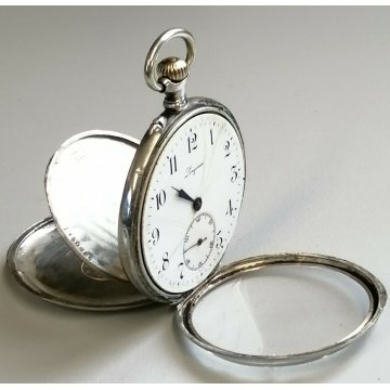ANTICO OROLOGIO TASCA Longines ARGENTO 800 EPOCA 1900 OLD SILVER POCKET WATCH