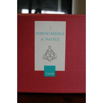 CANDELIERE CERAMICA THUN  C528B83 I PORTA CANDELE DI NATALE CHRISTMAS CHANDELIER