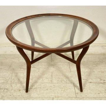 TAVOLO ROTONDO BASSO DA CENTRO VINTAGE ROUND SIDE TABLE DESIGN LEGNO MID CENTURY