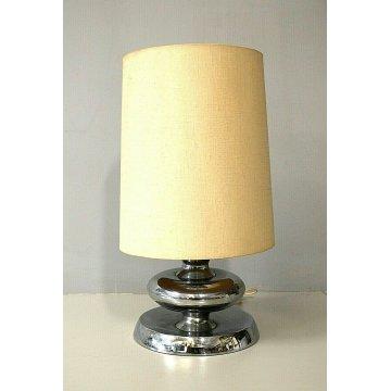 LAMPADA TAVOLO Luci Milano T363 ARGENTO PARALUME CILINDRICO SILVER TABLE LAMP
