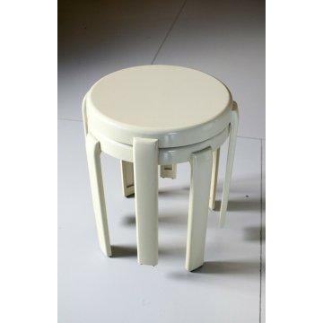 COPPIA SGABELLO IMPILABILE BIANCO WHITE STOOL Metalplastica DESIGN '70 VINTAGE