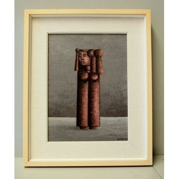 """DIPINTO OLIO TELA Xante Battaglia """"Figura arcaica""""  PAESAGGIO ASTRATTO 1979"""