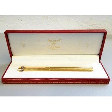 PENNA SFERA Must De Cartier TRINITY ORO epoca GOLDEN BALLPOINT PEN BOX plaque or
