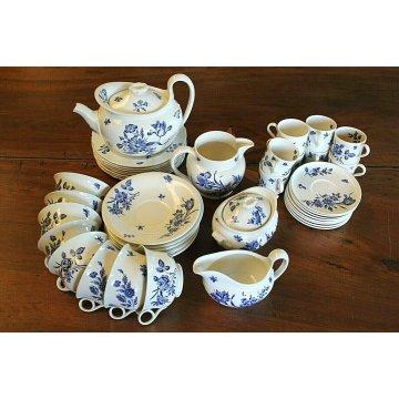 TEA CAFFEE SET VINTAGE 8 pers. BLU BIANCO FIORI Wedgwood Etruria England POTTERY