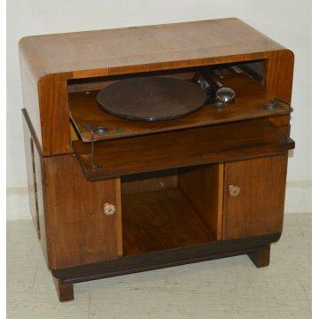 ANTICO MOBILE BAR decò EPOCA anni 40 RADICA grammofono LESA DISCOFONO OLYMPIC