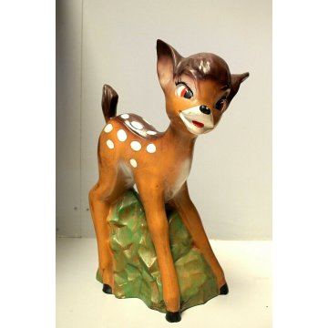 SCULTURA CERAMICA VINTAGE Bambi Walt Disney Production SMALTO POLICROMO ANNI '50