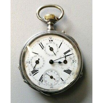 ANTICO OROLOGIO TASCA Pury & Cie '800 ARGENTO Triplo Calendario OLD POCKET WATCH
