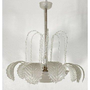 LAMPADARIO ERCOLE BAROVIER VINTAGE VETRO MURANO DESIGN  ANNI 40 FOGLIE LAMP