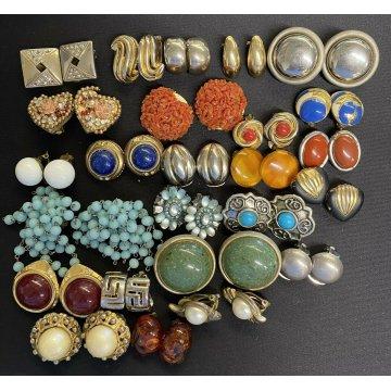 SET ORECCHINI CLIP 22 PEZZI BIGIOTTERIA earrings gioielli PIETRE diversi colori
